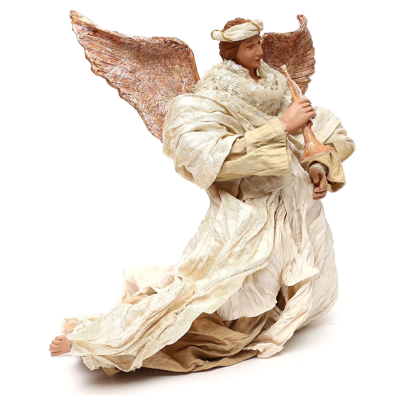 Angelo in volo con tromba 60 cm shabby chic 3