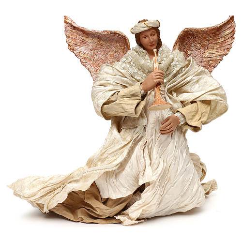 Flying angel with trumpet 60 cm, Shabby chic 1