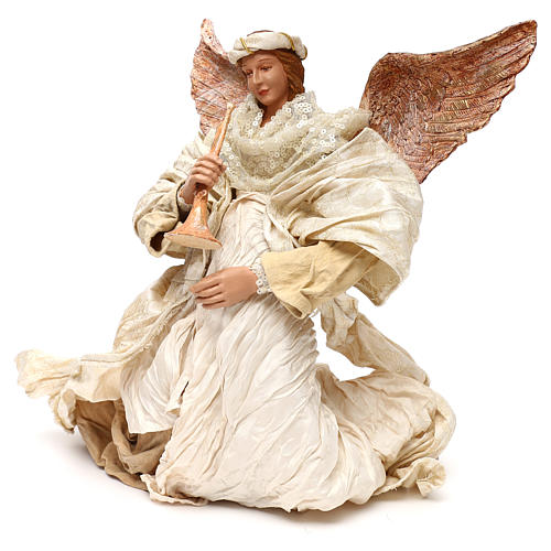 Flying angel with trumpet 60 cm, Shabby chic 2
