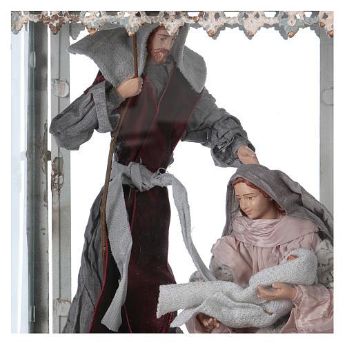 Holy Family scene in lantern 18 cm, 55x25x20 cm 2