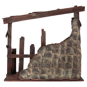 Cabaña de madera dimensiones 60x70x30 cm para belén 50 cm s5