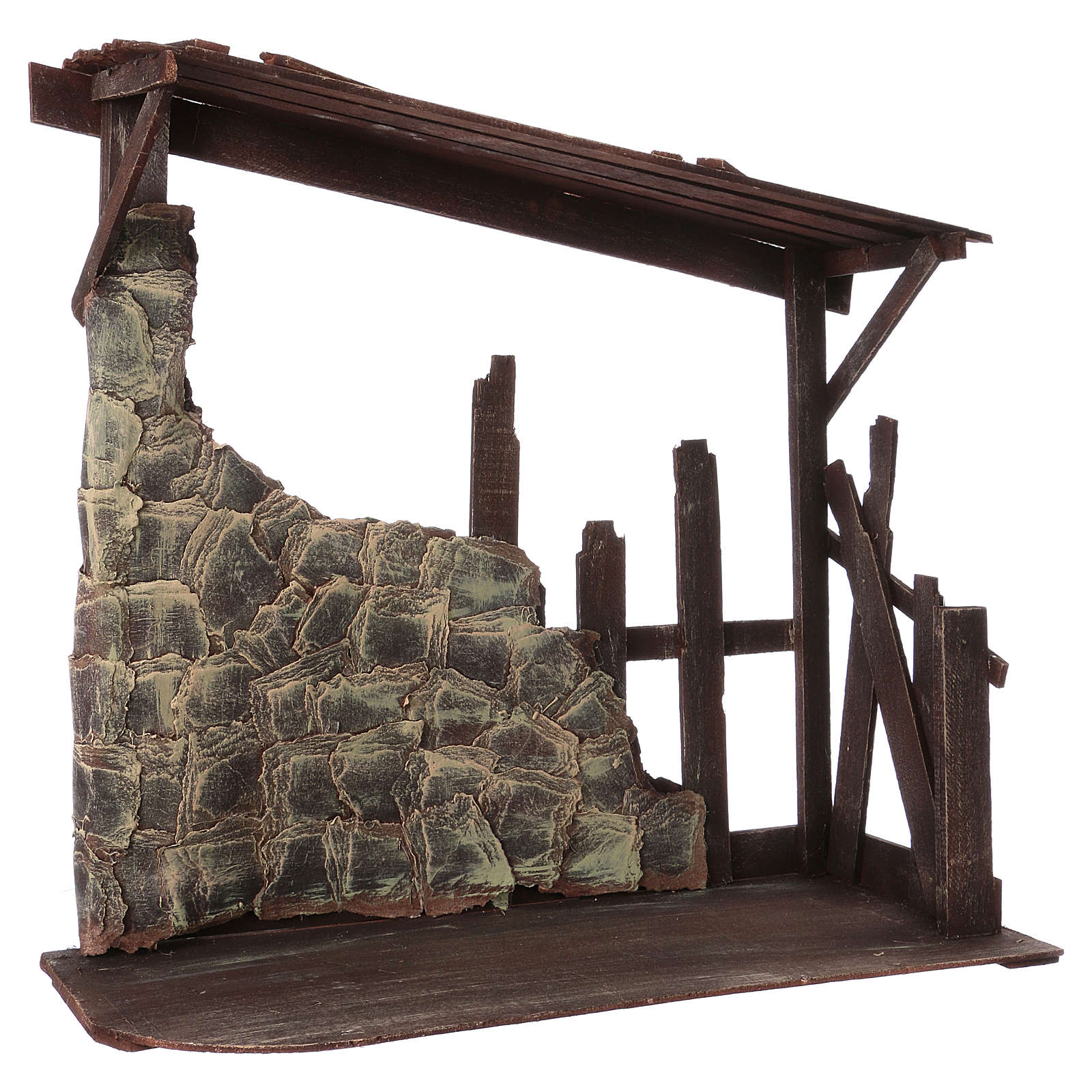 Capanna in legno dimensioni 60x70x30 cm per presepe 50 cm  4
