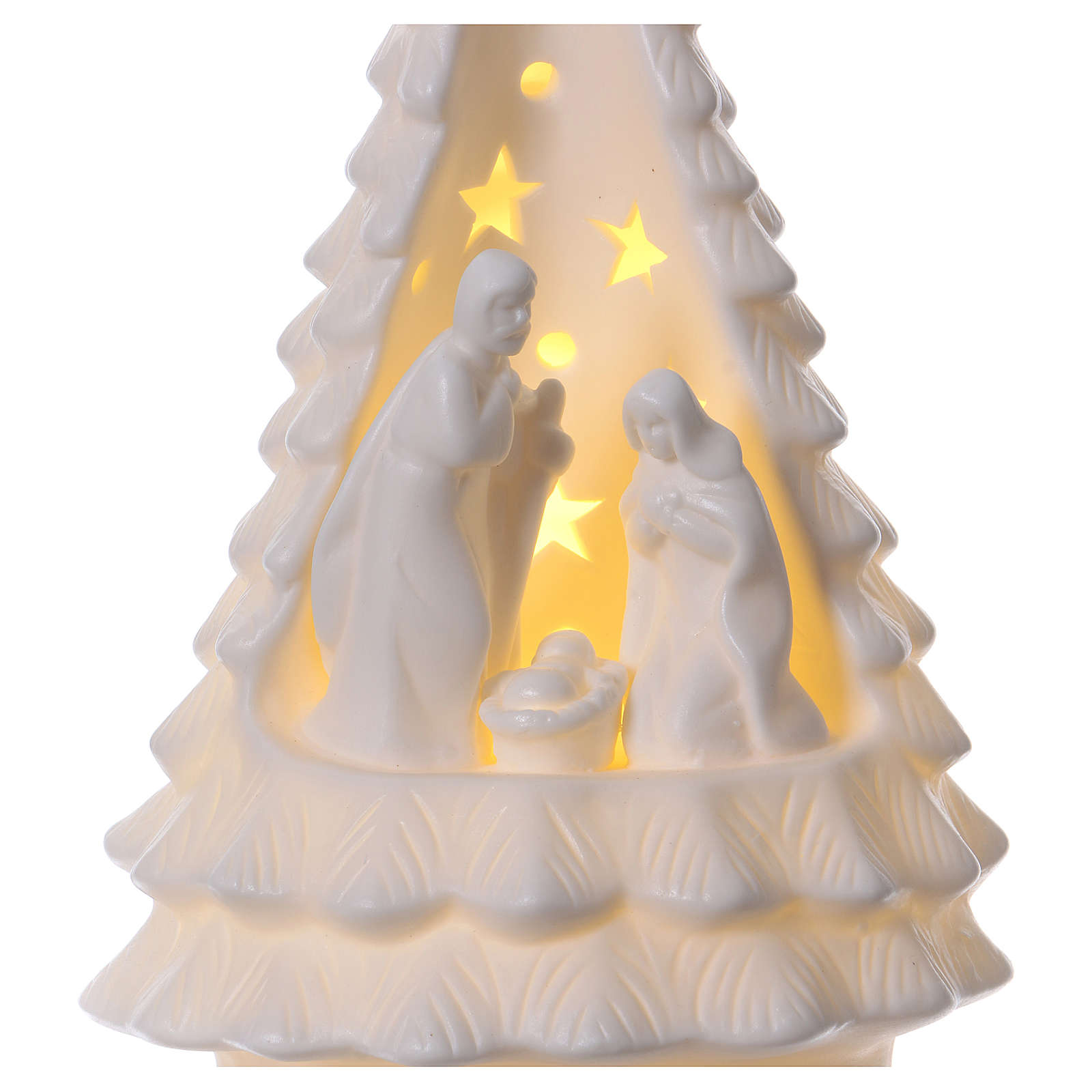White tree with Holy Family with lighting 23 cm 3
