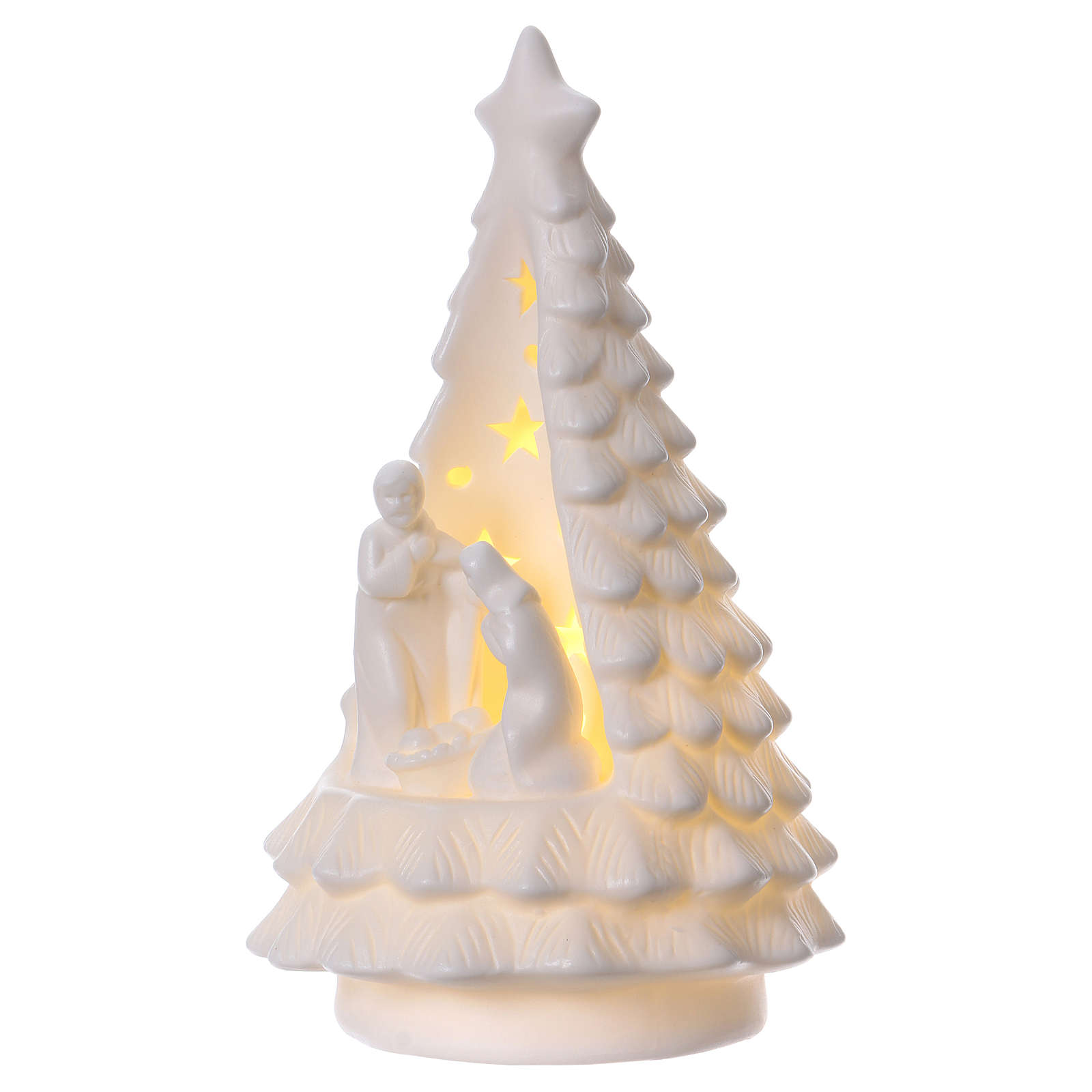 White Christmas tree with lighted Nativity Scene 23 cm 3