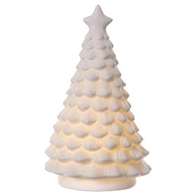 White Christmas tree with lighted Nativity Scene 23 cm s5