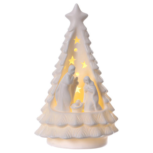 White Christmas tree with lighted Nativity Scene 23 cm 1