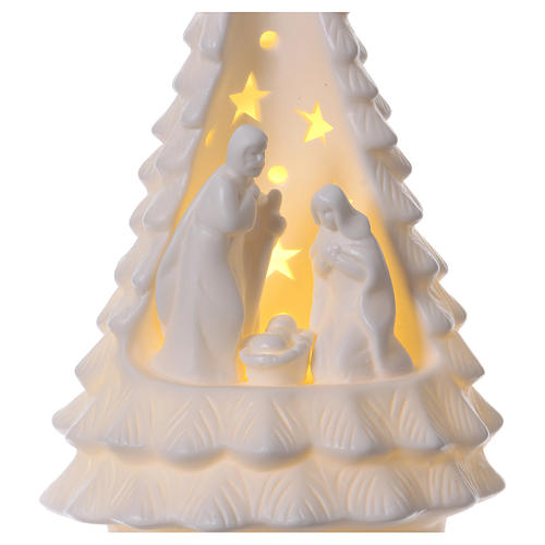 White Christmas tree with lighted Nativity Scene 23 cm 2