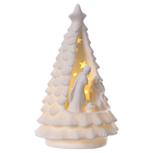 White Christmas tree with lighted Nativity Scene 23 cm 4