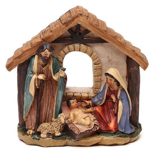 Holy Family with hut in resin for Nativity scenes of 11 cm 1