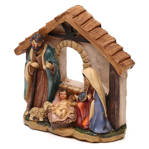 Holy Family with hut in resin for Nativity scenes of 11 cm 2