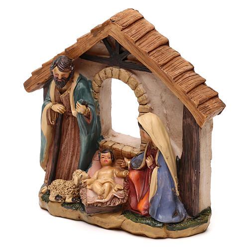 Nativité avec cabane en résine pour crèche de 11 cm 2