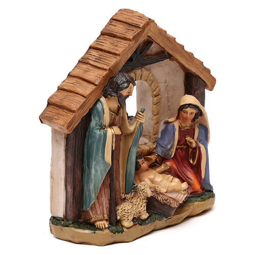 Nativité avec cabane en résine pour crèche de 11 cm 3