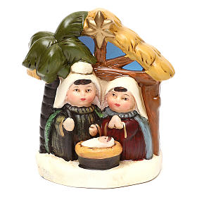 Terracotta Nativity scene with hut, palm tree and lighting 12 cm s1
