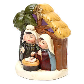 Terracotta Nativity scene with hut, palm tree and lighting 12 cm s2