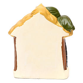 Terracotta Nativity scene with hut, palm tree and lighting 12 cm s4