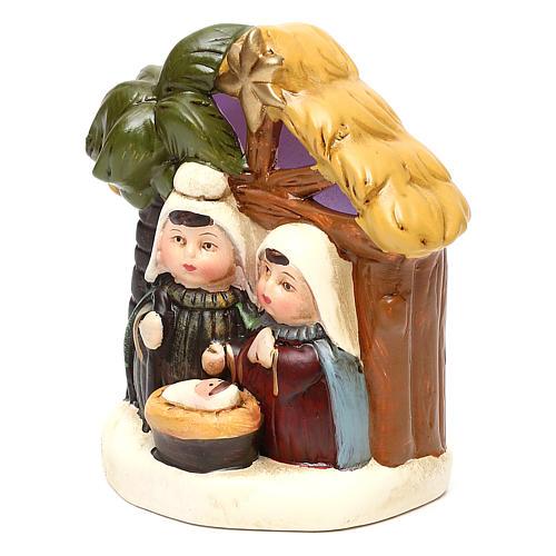 Terracotta Nativity scene with hut, palm tree and lighting 12 cm 2
