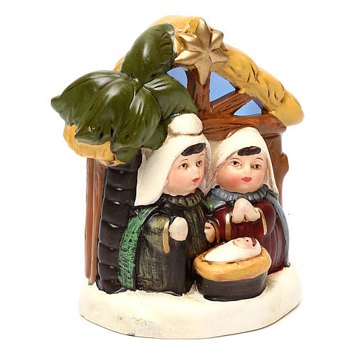 Terracotta Nativity scene with hut, palm tree and lighting 12 cm 3