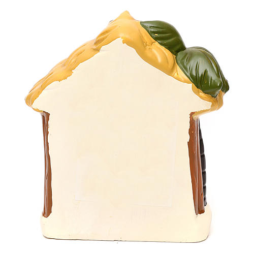 Terracotta Nativity scene with hut, palm tree and lighting 12 cm 4