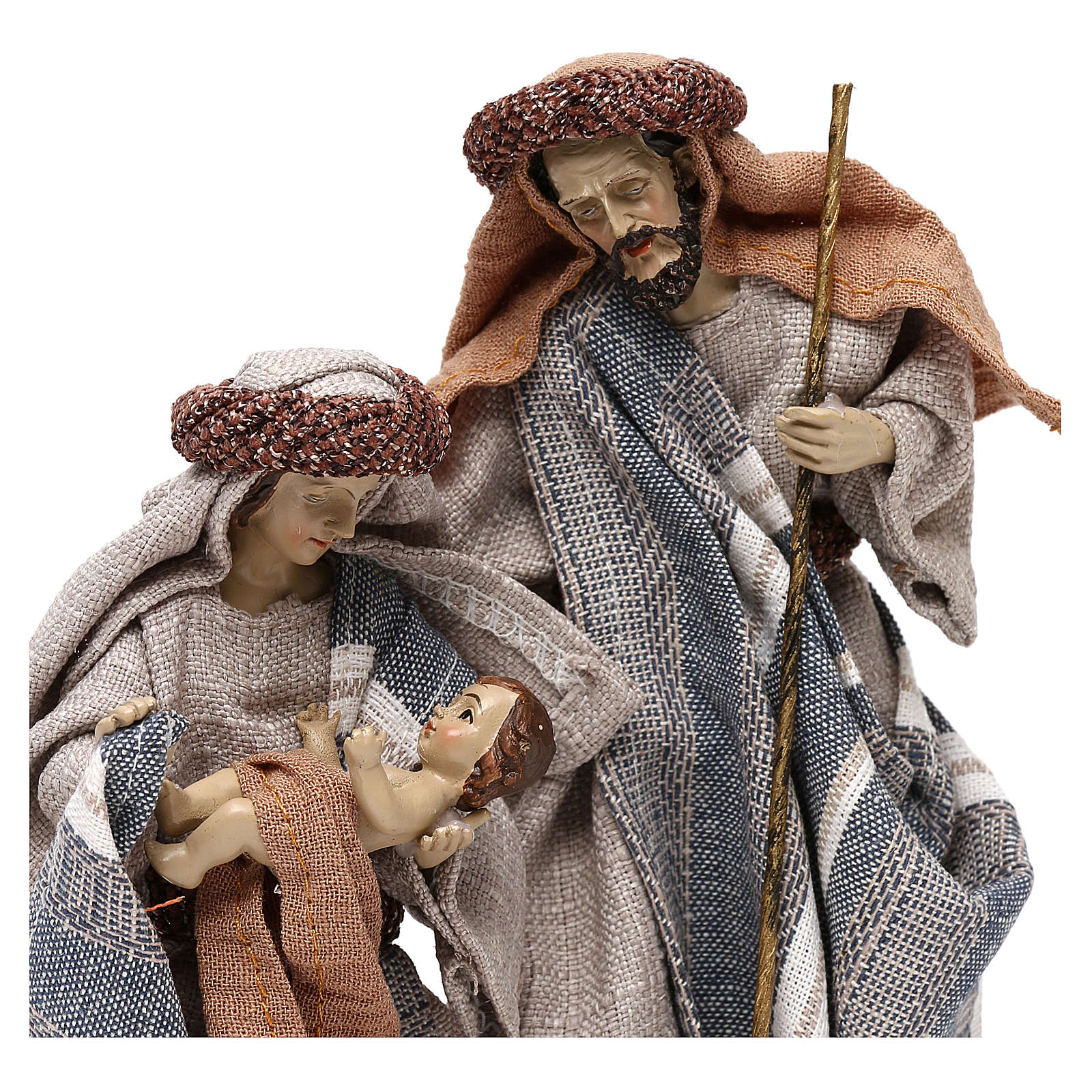 Nativity scene with clothes in blue and beige cloth 21 cm 3