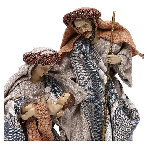Nativity scene with clothes in blue and beige cloth 21 cm 2