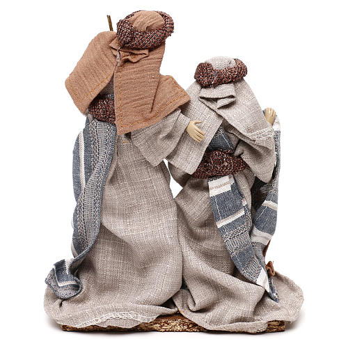 Nativity scene with clothes in blue and beige cloth 21 cm 5