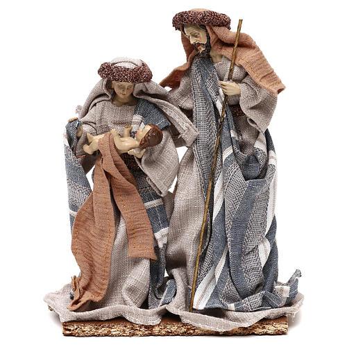 Natividad vestidos de tela azul y beis 21 cm 1