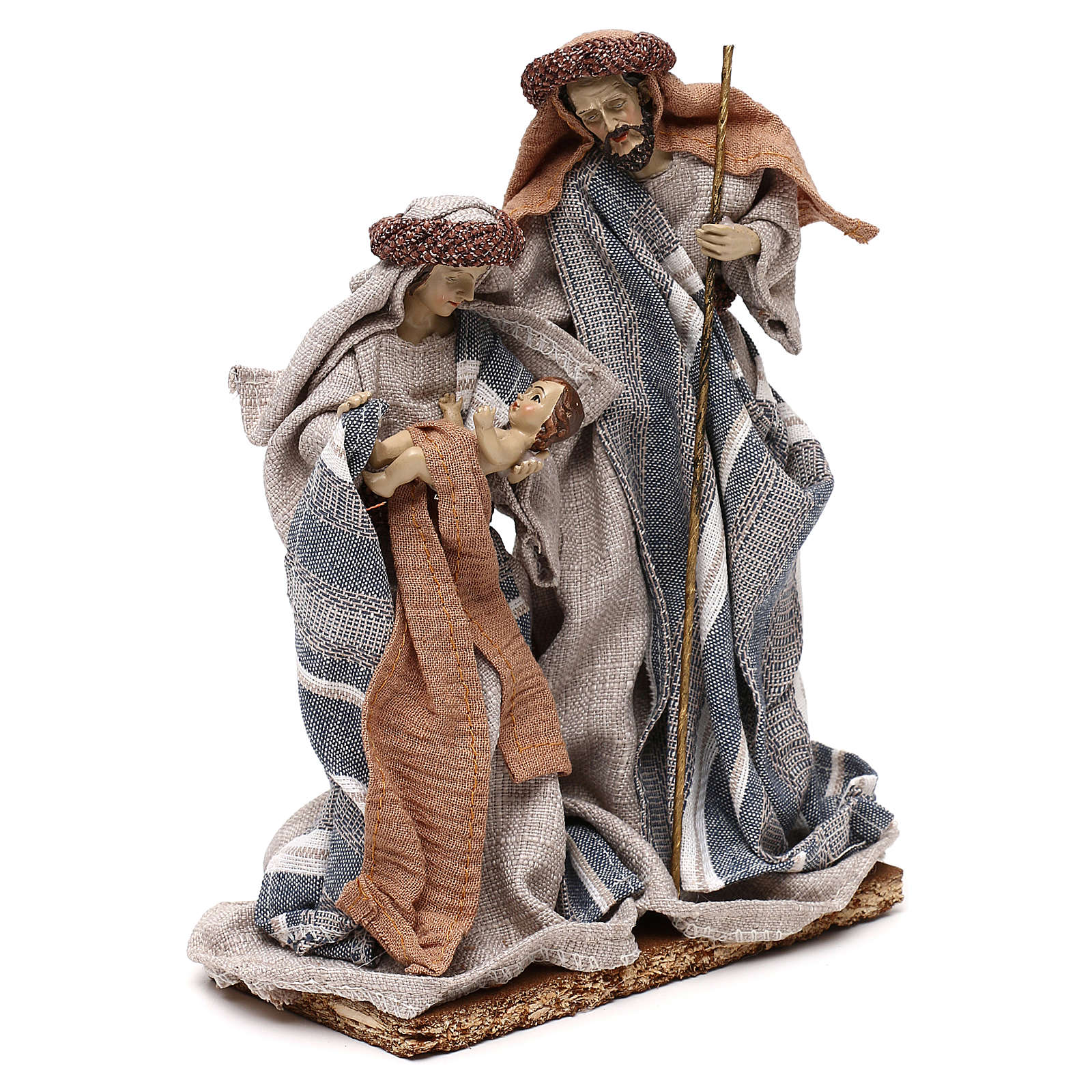 Nativité vêtements en tissu bleus et beige 21 cm 3