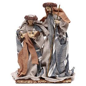 Nativité vêtements en tissu bleus et beige 21 cm s1