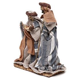 Nativité vêtements en tissu bleus et beige 21 cm s3