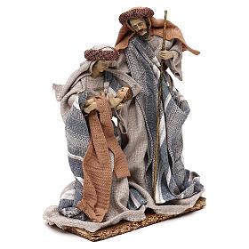 Nativité vêtements en tissu bleus et beige 21 cm s4