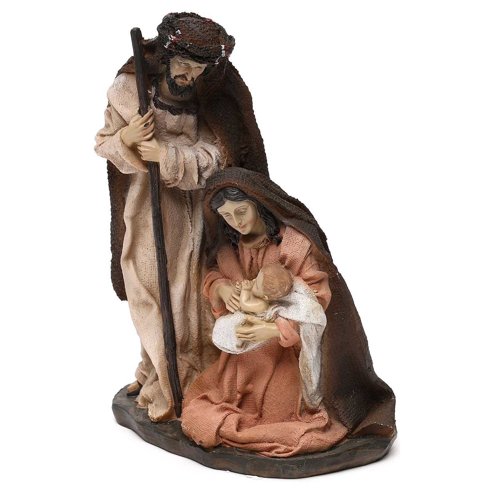 Holy Family set in resin, peach and champagne cloth 19 cm 3