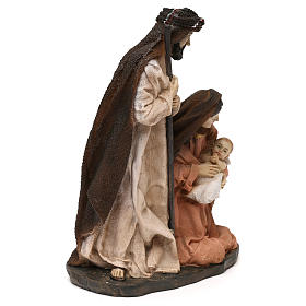Holy Family set in resin, peach and champagne cloth 19 cm s3