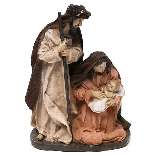 Holy Family set in resin, peach and champagne cloth 19 cm 1