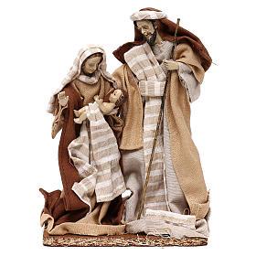 Natività stile arabo con vesti in stoffa beige 22 cm s1