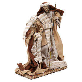 Natività stile arabo con vesti in stoffa beige 22 cm s4