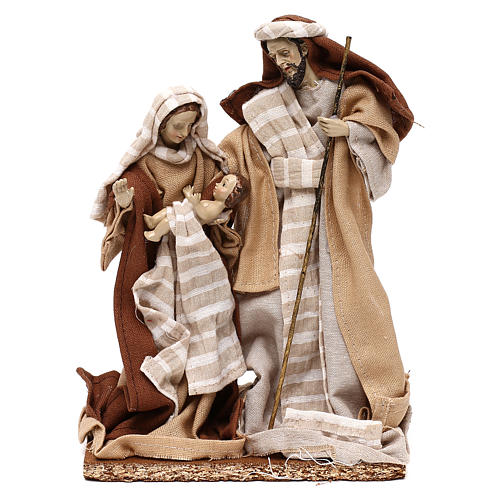 Natività stile arabo con vesti in stoffa beige 22 cm 1