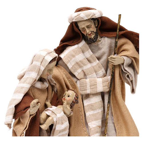 Natività stile arabo con vesti in stoffa beige 22 cm 2