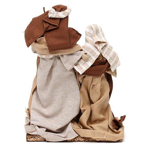 Natività stile arabo con vesti in stoffa beige 22 cm 5