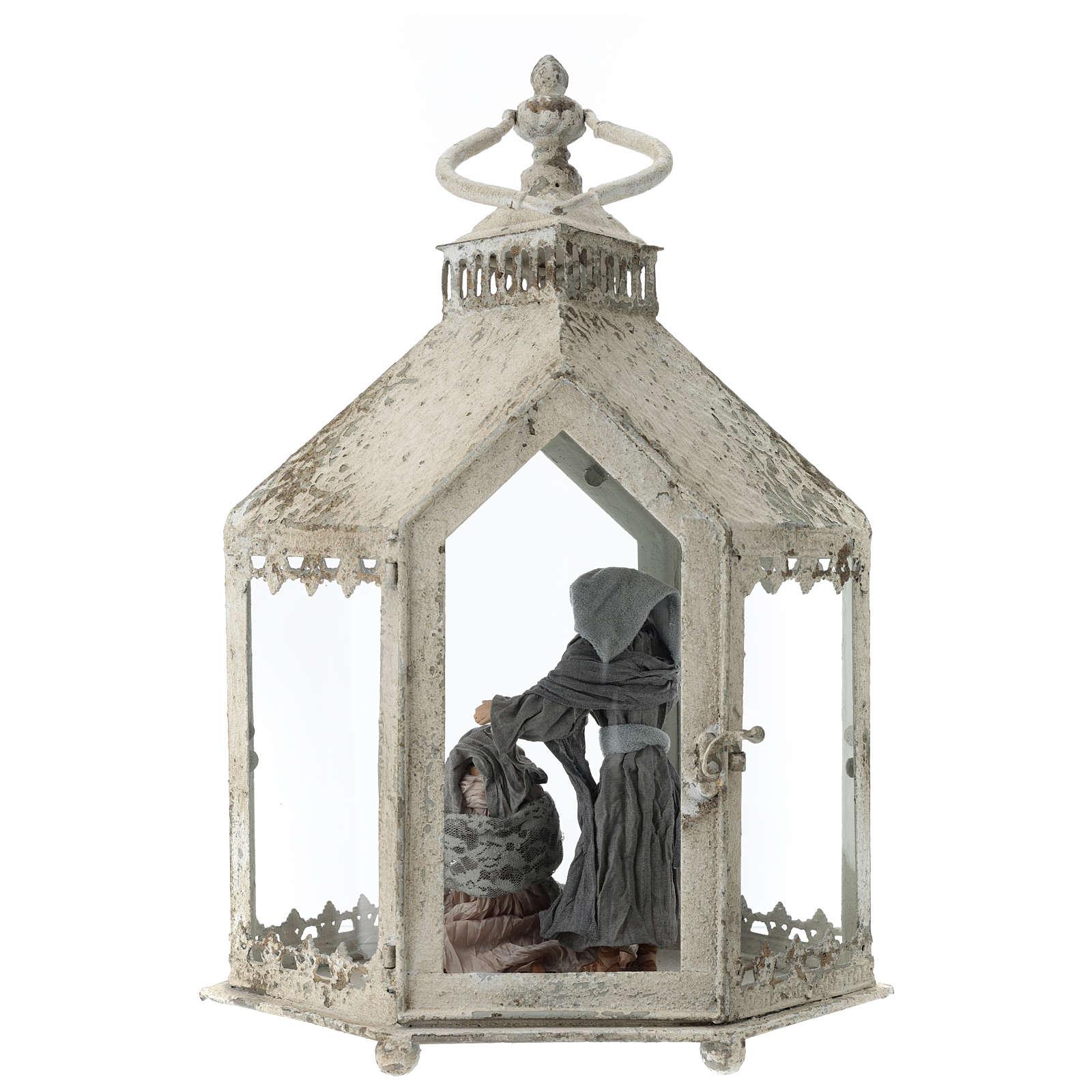 Lanterna hexagonal em metal branco com cena Natividade 45x35x15 cm 3