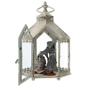 Lanterna hexagonal em metal branco com cena Natividade 45x35x15 cm s6