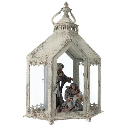 Lanterna hexagonal em metal branco com cena Natividade 45x35x15 cm 4