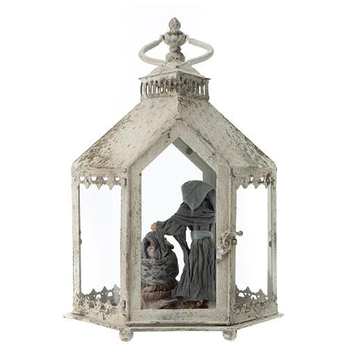 Lanterna hexagonal em metal branco com cena Natividade 45x35x15 cm 5