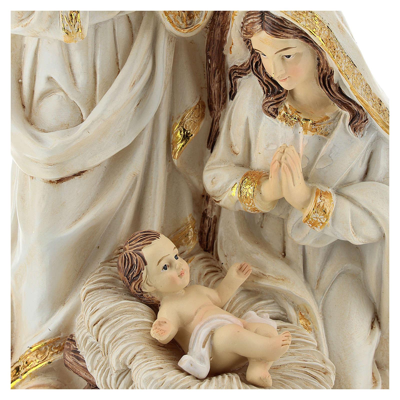 Nativity Scene 19 cm in resin Ivory finish 3