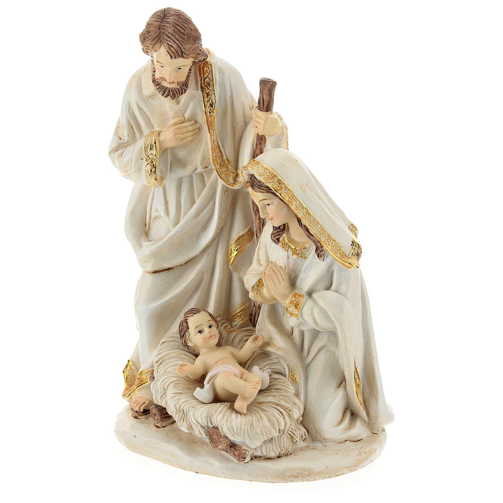 Scène Nativité 19 cm résine finition ivoire 3
