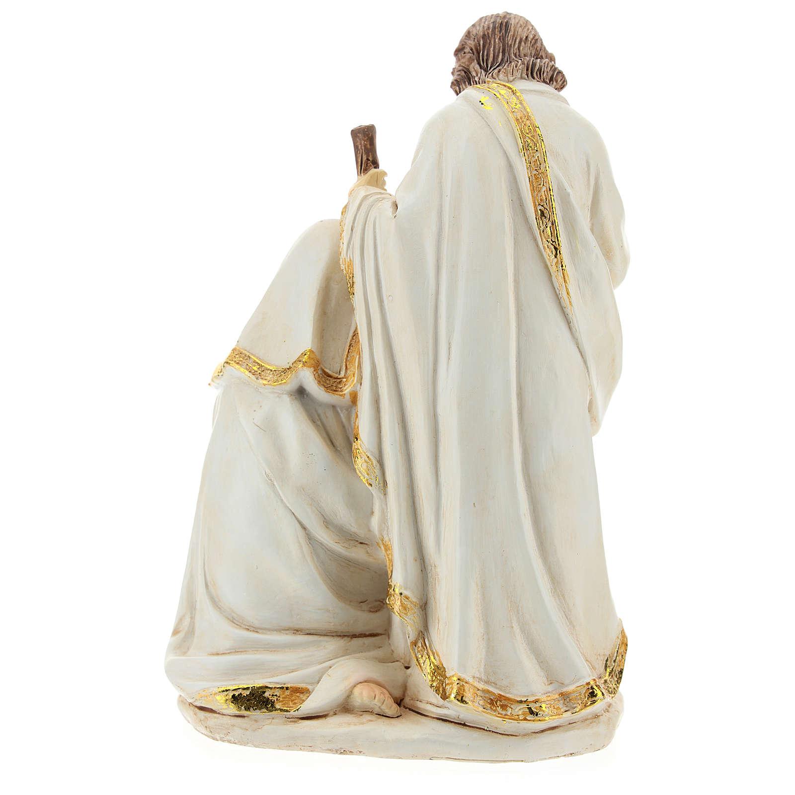 Cena Natividade resina acabamento cor de marfim para presépio com figuras de 19 cm de altura média 3