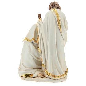 Cena Natividade resina acabamento cor de marfim para presépio com figuras de 19 cm de altura média s5