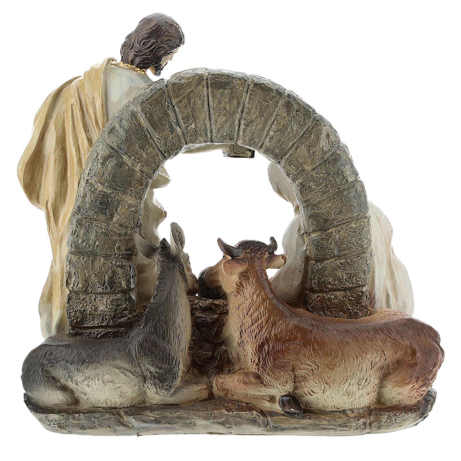 Scène Nativité avec grotte 20 cm résine 3