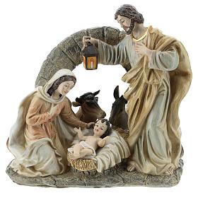 Scène Nativité avec grotte 20 cm résine s1