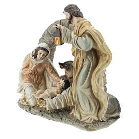 Scène Nativité avec grotte 20 cm résine s3