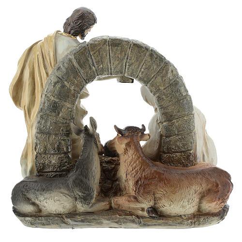 Scène Nativité avec grotte 20 cm résine 5